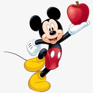 Clipart Apple Disney Mickey Mouse Eating Apple