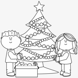 Christmas Tree Clipart Black And White.Png Christmas Tree Decorating Cliparts Cartoons Free