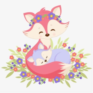 Sublimation Transfer Animal Mom And Baby Girl Fox With Mom And Baby Animal Cartoon Transparent Cartoon Free Cliparts Silhouettes Netclipart