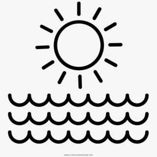 Beach Vacation Coloring Page - Sun And Waves Outline , Transparent ...