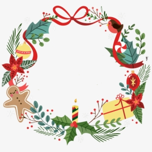 Christmas Wreath Silhouette Free.Christmas Wreath Border Png Transparent Cartoon Free